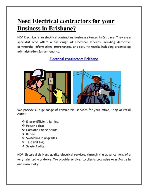 Need Electrical contractors for your Business in Brisbane