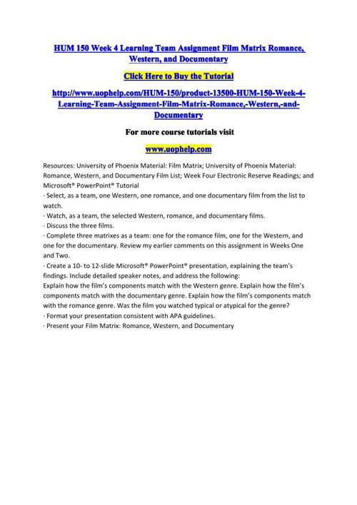 HUM 150 Week 4 Learning Team Assignment Film Matrix Romance