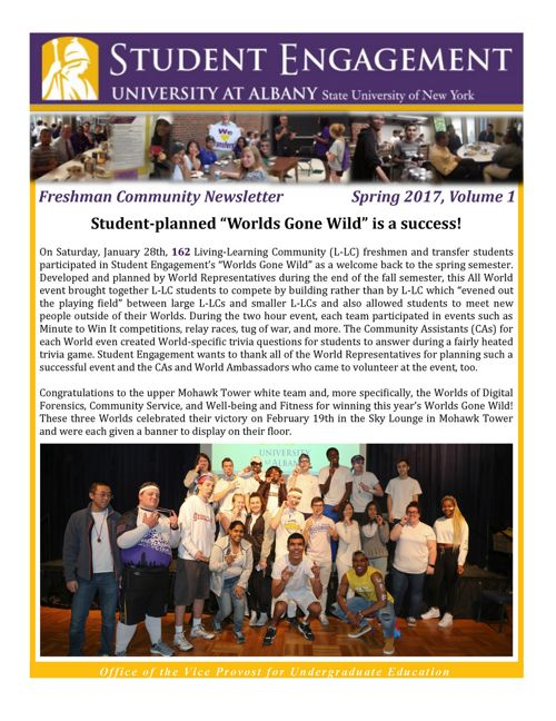 Freshman Community Newsletter: Spring 2017, Volume 1