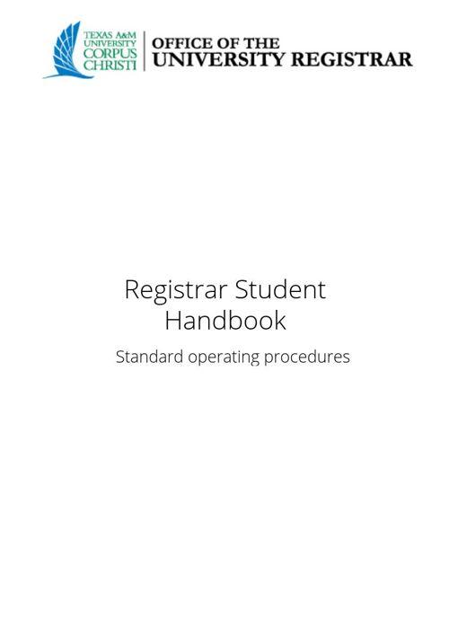 Registrar HandBook