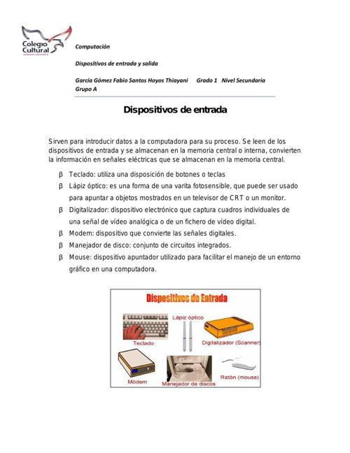 DIPOSITIVO DE ENTRADA Y SALIDA