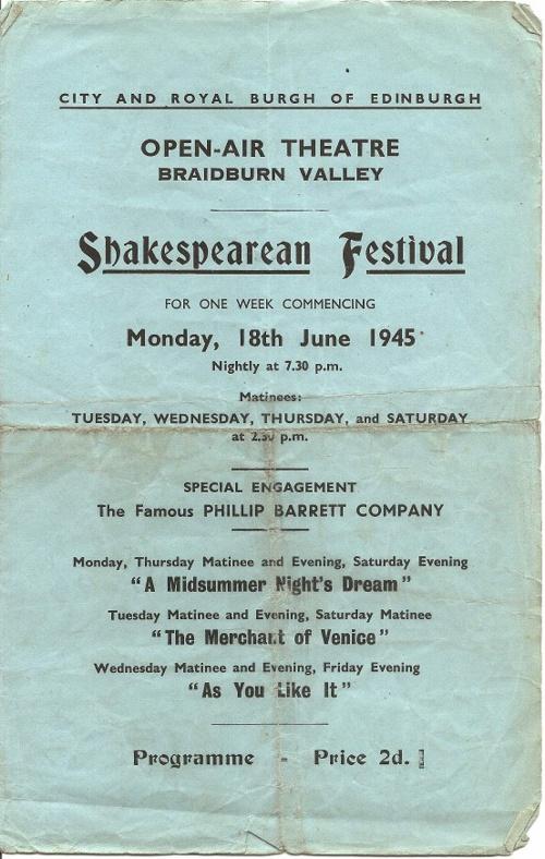 Braidburn Valley Shakespearean Festival 1945