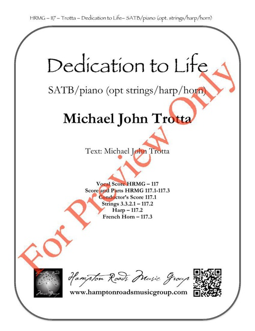Dedication to Life Score