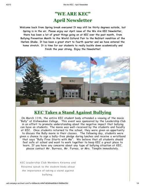 We Are KEC - April Newsletter