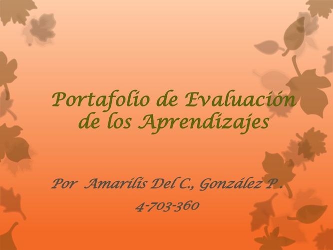 Portafolio de Evaluación De Amarilis Del Carmen González Pitti