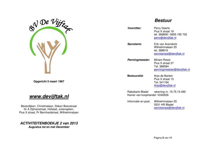 Activiteitenboekje 2de helft 2013