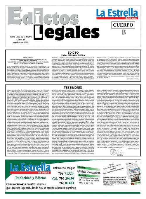 Judiciales 19 lunes - octubre 2015