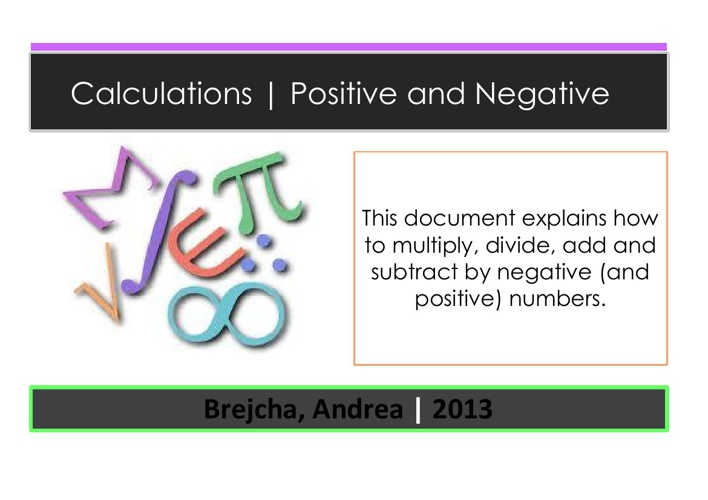 Calculations   Positive and Negative