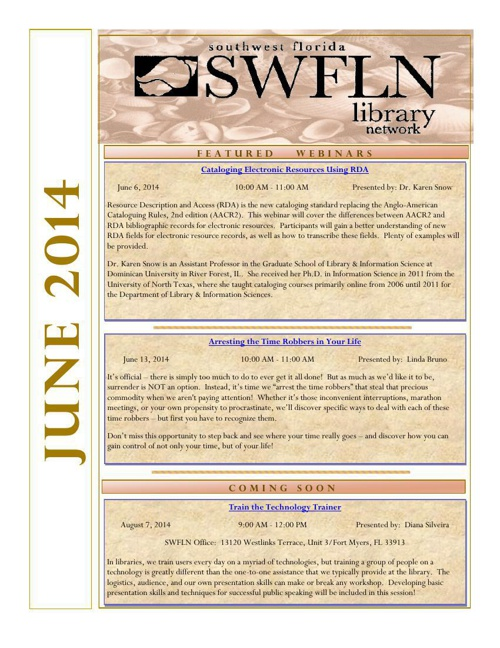SWFLN June 2014 CE News