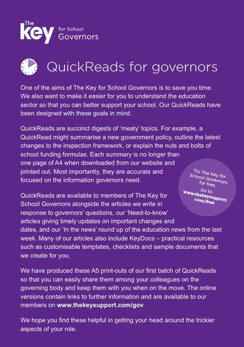 QuickReads for Governors