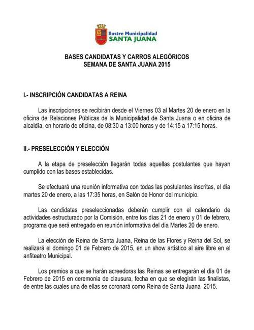 Bases Candidatas a Reina y Carros Alegóricos 2015