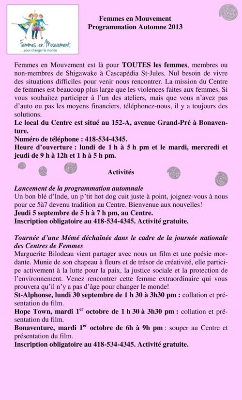 Programmation automne 2013