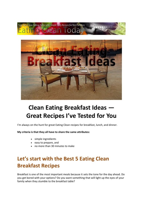 5 great clean eating breakfast recipes