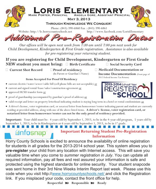 Loris Elementary Newsletter Vol 15 5-3-13