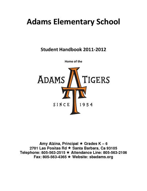 Adams Student Handbook 2011-2012