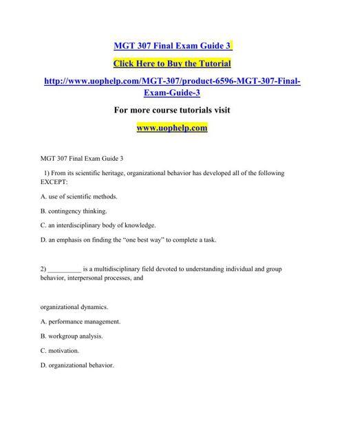 MGT 307 Final Exam Guide 3