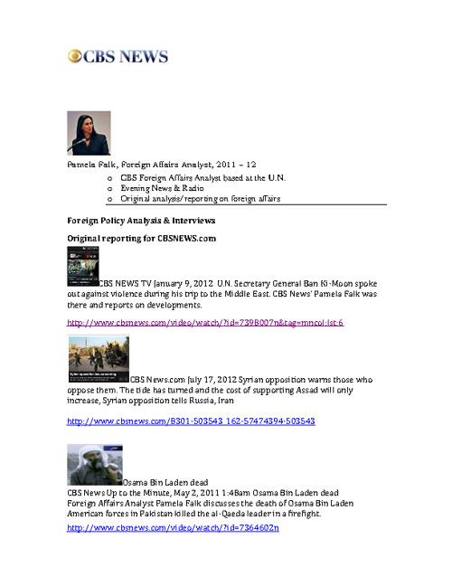 CBS News Pamela Falk U.N. Resident Correspondent UNCA Awards2012