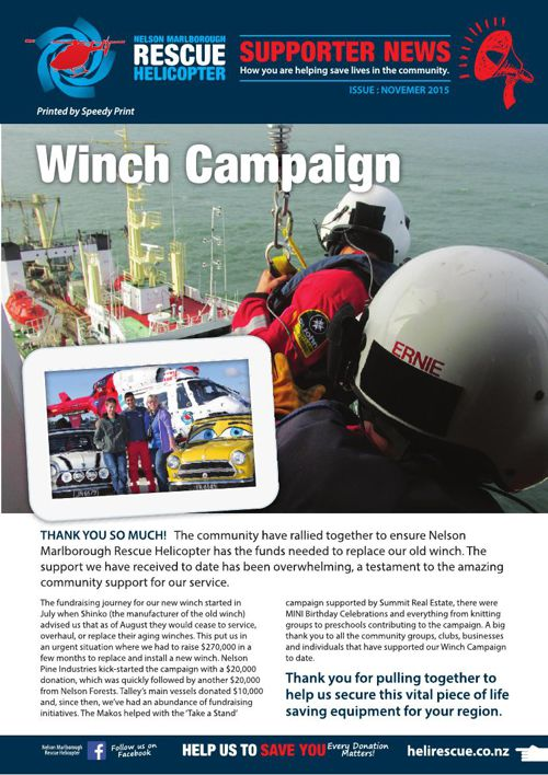 Heli Rescue Supporters News - November 2015