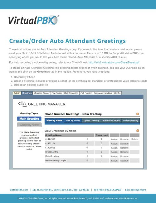 Create/Upload Auto Attendant Greetings