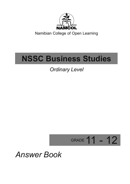NSSCO Business Studies Answer Booklet