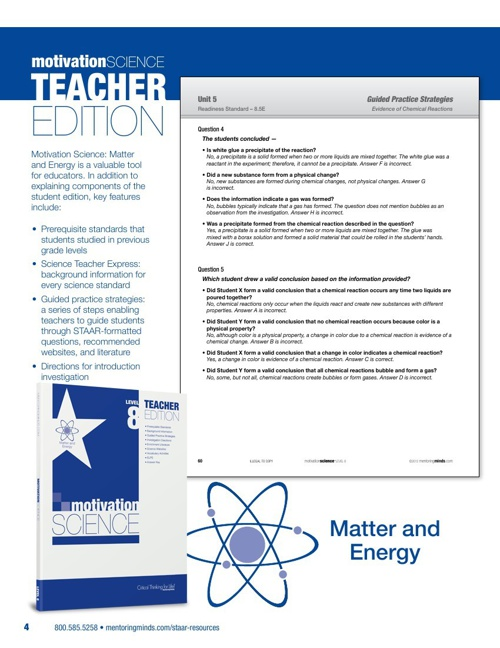 STAAR Motivation Science Level 8 Matter TE