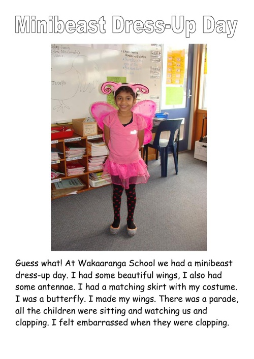 Minibeast Dress Up Day Part One