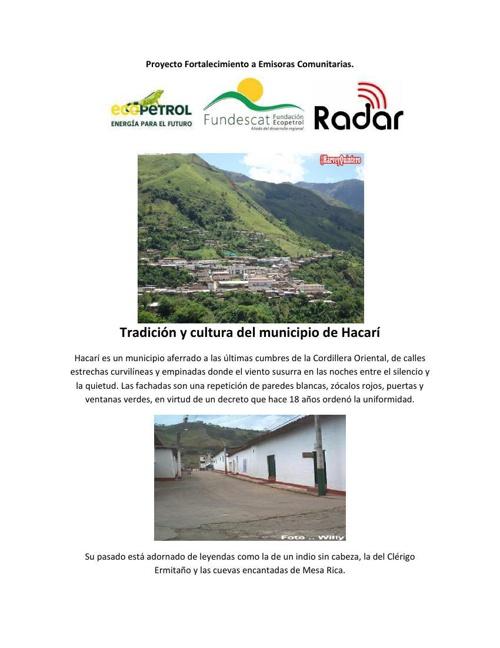 Tradición y cultura del municipio de Hacarí