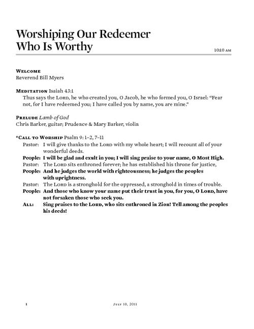 July 10, 2011 Morning Worship Bulletin