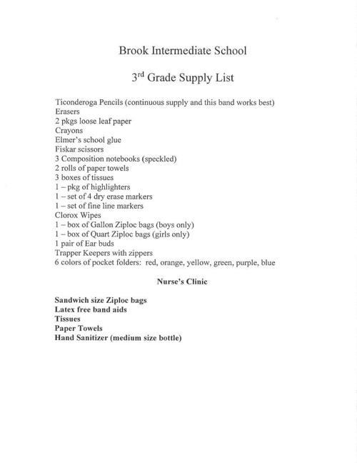 Brook Supply Lists