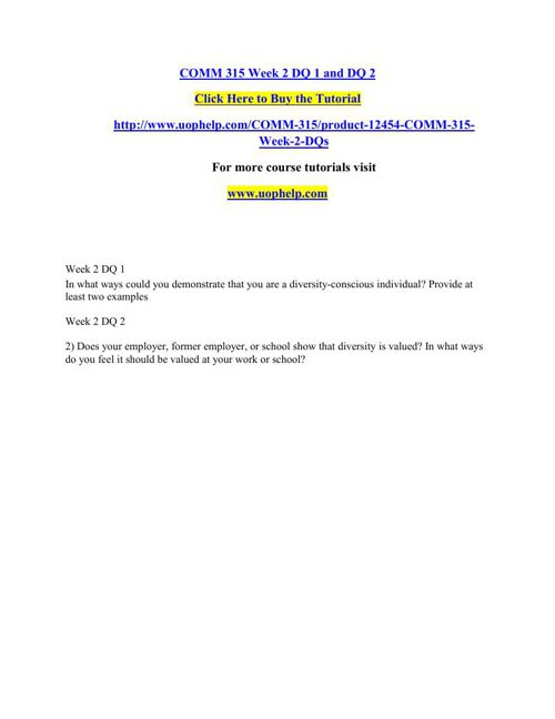 COMM 315 Instant Education/uophelp
