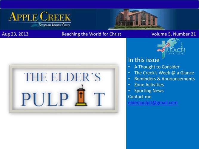 The Elder's Pulpit Aug 23, 2013