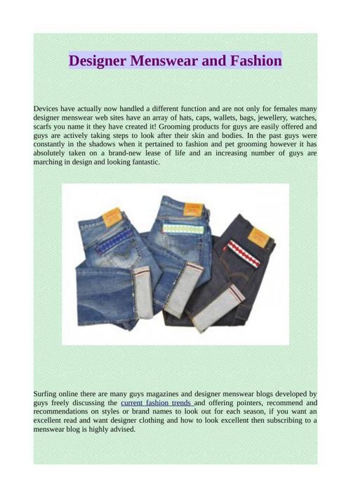Designer Menswear and Fashion