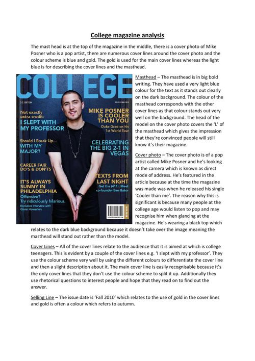 College magazine analysis