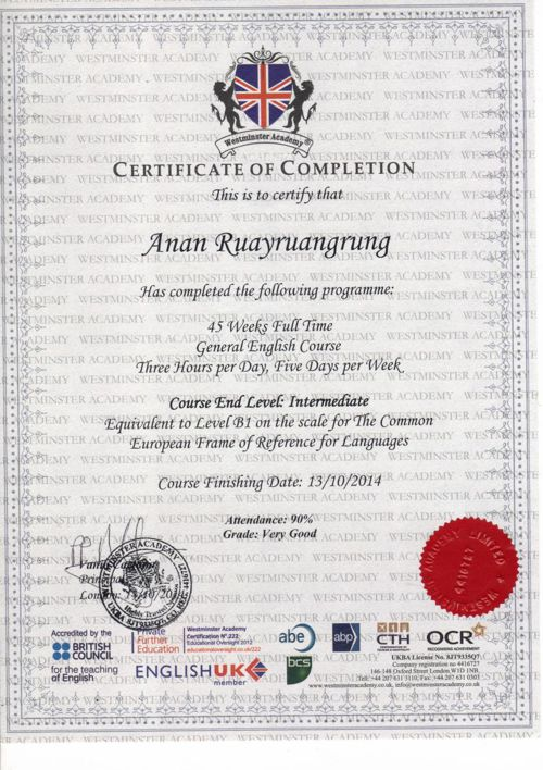 Certificate Westminster