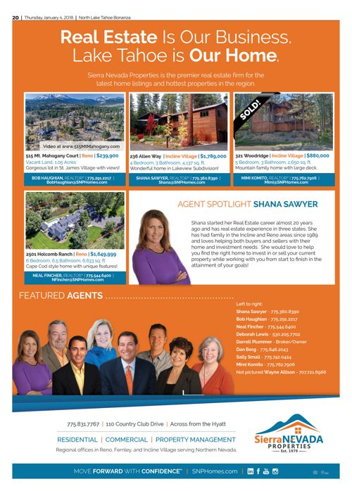 SNP Homes for Sale in the Tahoe Bonanza Jan. 4, 2018