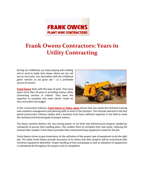 Frank Owens Contractors: Years in Utility Contracting