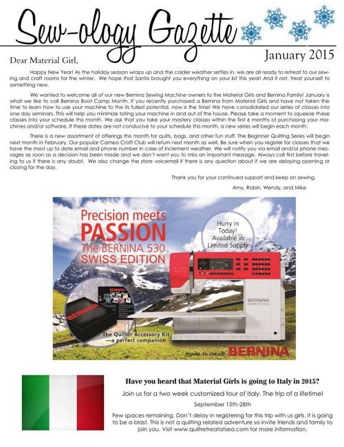Sewology Gazette January 2015