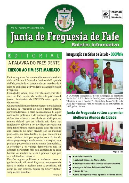 Boletim Informativo N.º 29 - setembro/2013