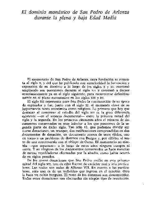 EL DOMINIO MONASTICO DE SAN PEDRO DE ARLANZA  EN LA EDAD MEDIA