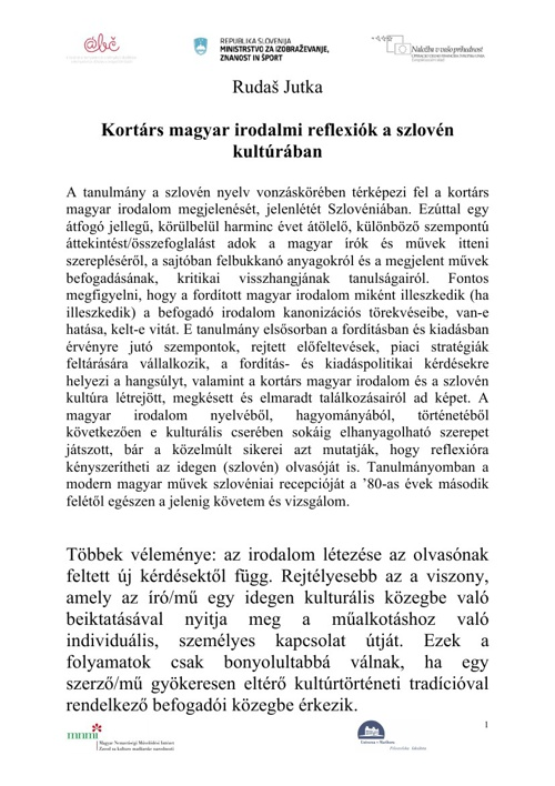 Kortárs magyar irodalmi reflexiók a szlovén kultúrában