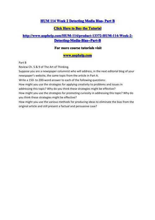 HUM 114 Week 2 Detecting Media BiaB