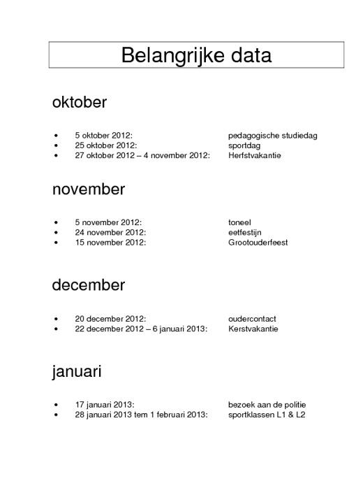 Belangrijke data schooljaar 2012 - 2013