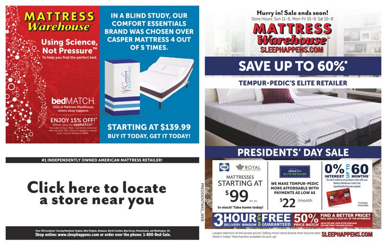 Mattress Warehouse Presidents' Day Sale
