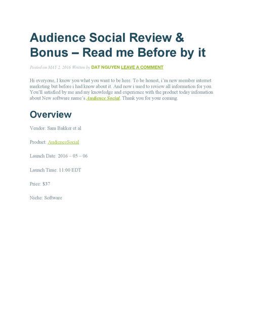 Audience Social Review & bonus