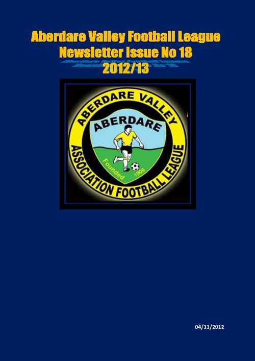ABERDARE VALLEY FOOTBALL LEAGUE NEWSLETTER ISSUE 18