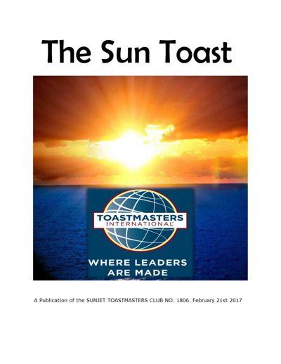 Sunjet Toastmasters Club No. 1806 Magazine February 2017