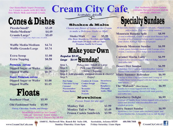Cream City Cafe Savory Menu