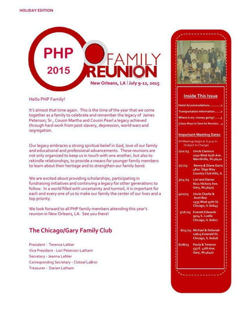 Family Reunion Newsletter - Holiday Edition