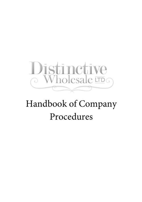 Distinctive Wholesale Ltd Handbook of Company Procedures