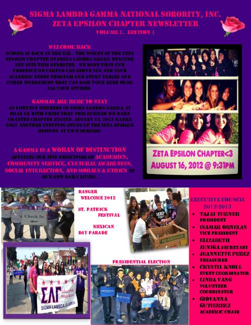 Zeta Epsilon's Newsletter